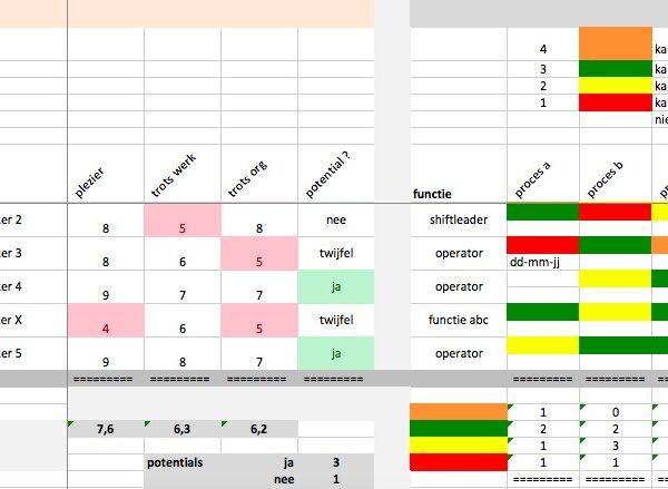 skillsmatrix ontwikkelen van mensen en processen